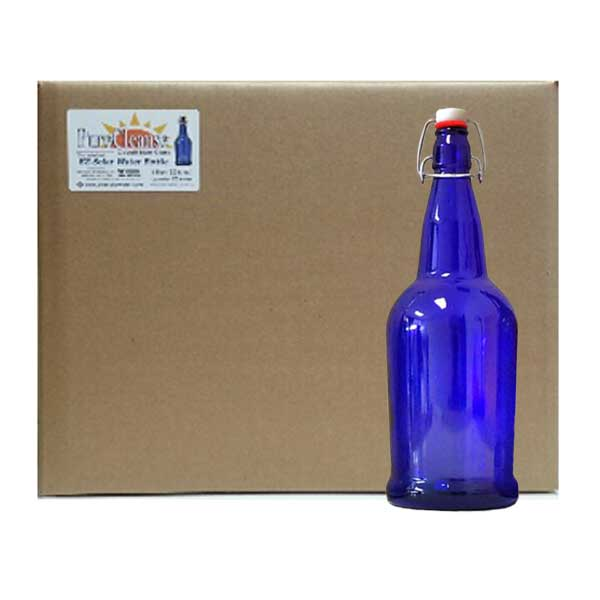 blue glass solar water bottles 32 oz 12 case